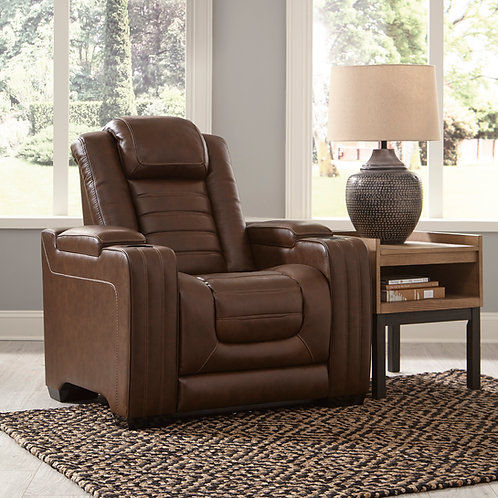 Angel Backtrack Chocolate Leather PWR Recliner w/Adjustable Headrest