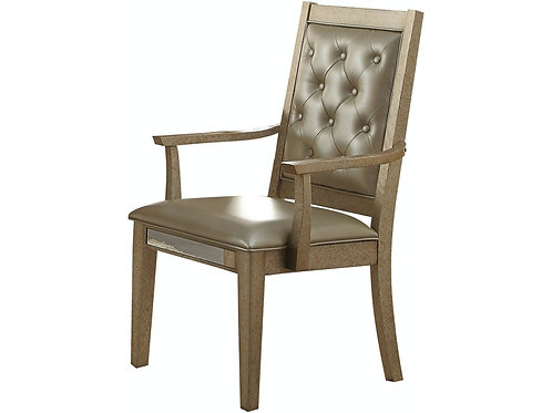 Voeville All Antique Gold Finish /Matte Gold PU Arm Chair