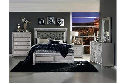 Henry Bevelle Silver- Crystal Tufted Upholstered Bed