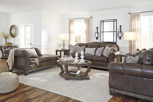 Malacara Angel Traditional Leather Quarry Finish Sofa w/Wood Trim