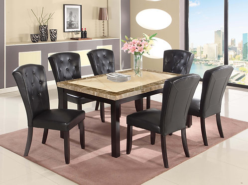 7886 Milt Faux Marble Top Table & 6 PU Side Chairs (7pc set)