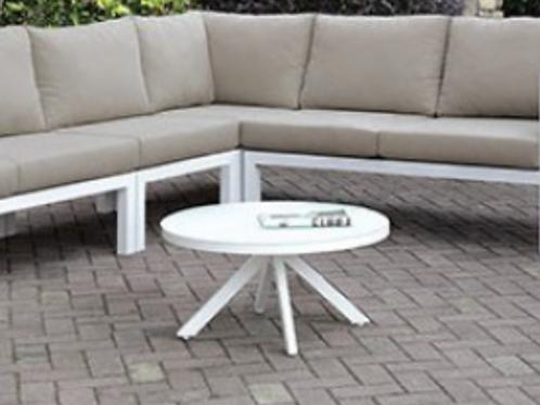 SASHA Imprad Contemporary White Patio Round Coffee Table