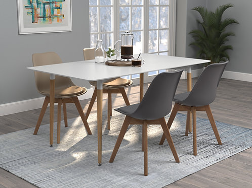 Breckenridge Cali Rectangle Dining Table Matte White And Natural Oak