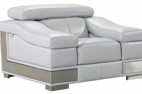 Geo 415 Italian Leather Light Gray Chair