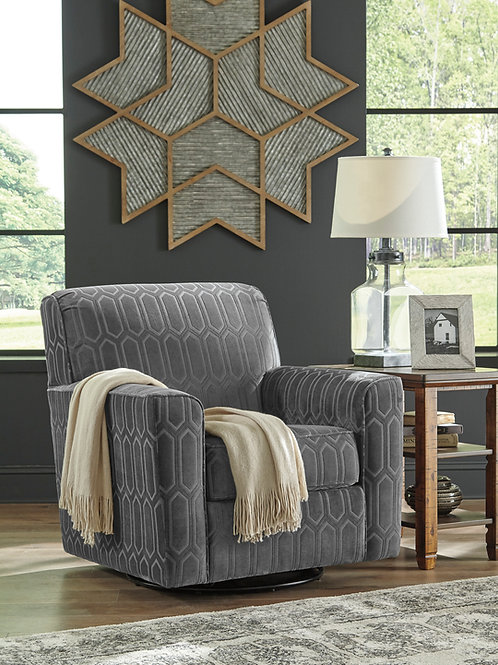 Zarina Angel Graphite Fabric Swivel Accent Chair