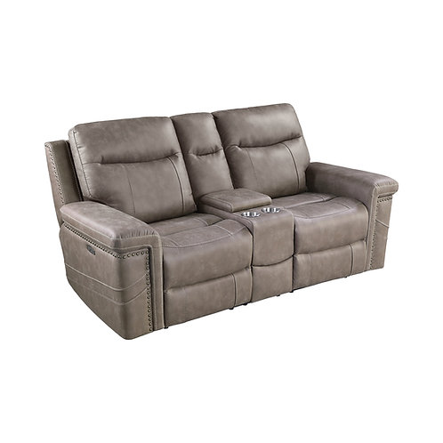 Wixom Cali 1-Drawer Power^2 Loveseat With Console Taupe