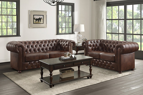 Henry Tiverton Brown Faux Leather Tufted Chesterfield Sofa