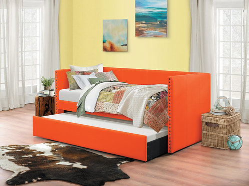 Theres Henry Orange Fabric Daybed w/Trundle