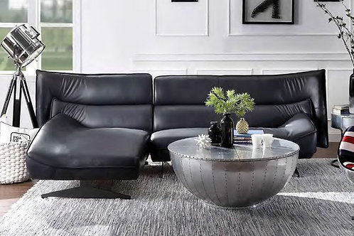 All Maeko Sectional Sofa Dark Gray Top Grain Leather