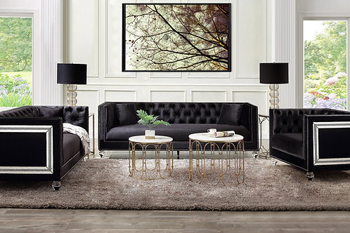 All HEIBERO Black Velvet Tufted Mirror Accent Trim Glam Sofa