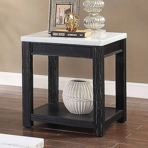 MCGILL Import Rustic White Marble, Antique Black End Table