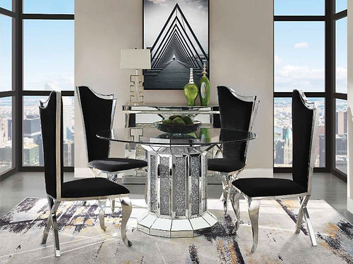 Noralie 72140 All Glass Round Top Table with Faux Diamond