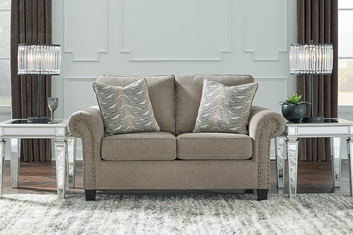 Angel Shewsbury Taupe Chesterfield Loveseat with Pillows