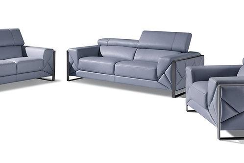 903 Geo Italian Leather Light Blue Sofa