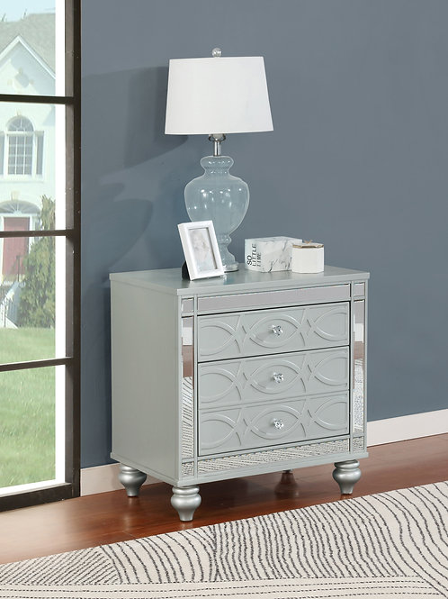 Gunnison Cali 2-Drawer Nightstand Silver Metallic