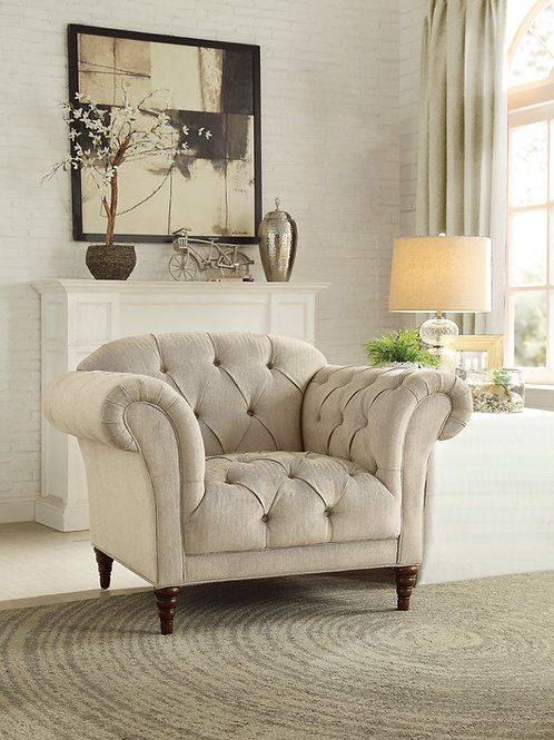 Claire Henry Light Brown Chesterfield Chair