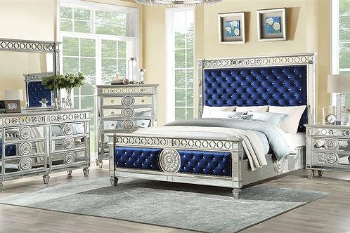 Varian All Bed Blue Velvet & Mirrored