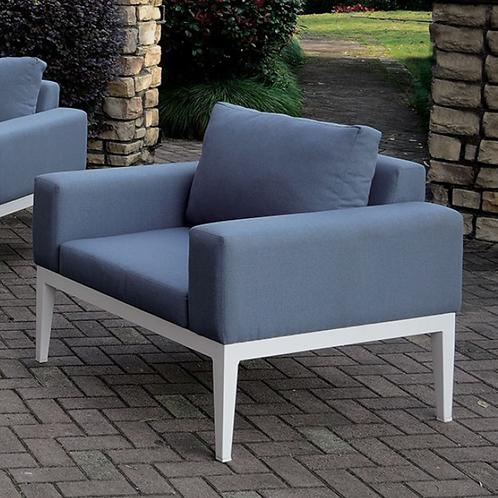 SHARON Imprad Contemporary White, Blue Patio Arm Chair