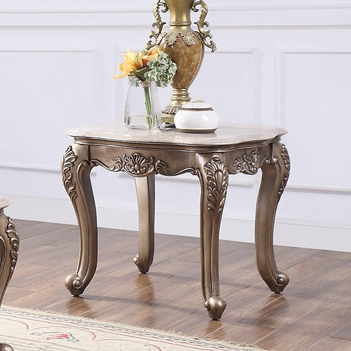 All Jayceon Traditional Marble and Champagne End Table