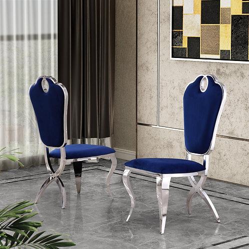 Best Q SC38 Velvet Fabric Navy Blue Chair