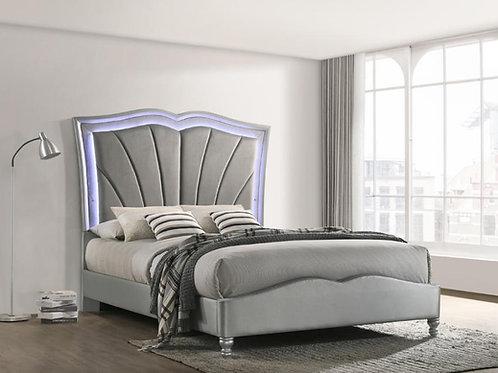 Cali Chasina LED Light Gray Velvet Fabric Bed Frame