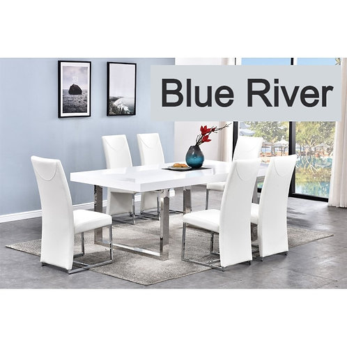 Blue River BA222 Modern White Dining Table With Chrome Legs