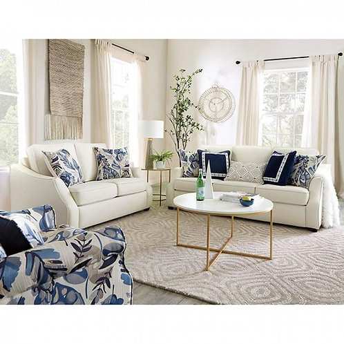 MEGAN Imprad Transitional Ivory Fabric Sofa w/Accent Pillows