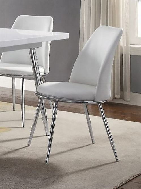 Weizor All Side Chair White PU & Chrome