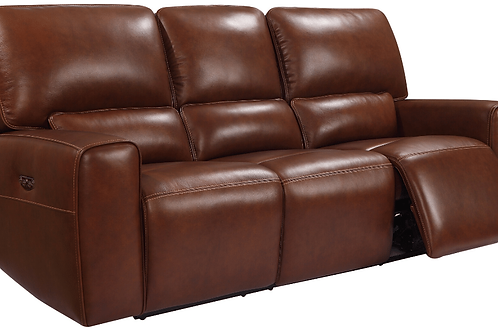 BROADWAY Italia Brown Genuine Leather Power Reclining Sofa