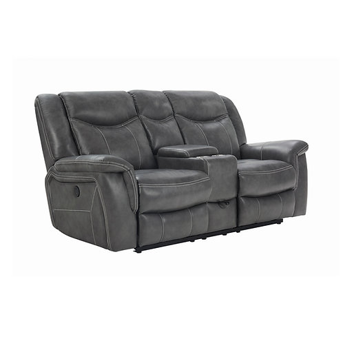 Conrad Cali Upholstered Power Loveseat With Console Grey