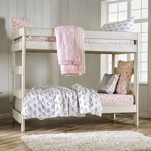 ARLETTE Imprad Twin/Twin Bunk Bed  Rustic White