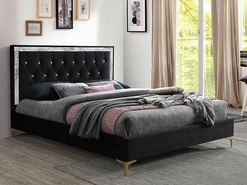 All ROWAN Black Tufted Fabric Bed