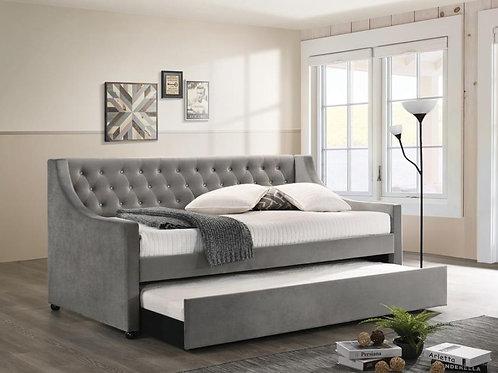 Cali Chatsboro Modern Grey Velvet Daybed w/trundle