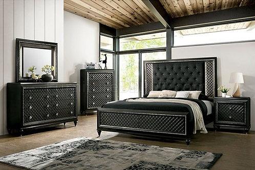 DEMETRIA Imprad LED Light/ Black Upholstery Bed
