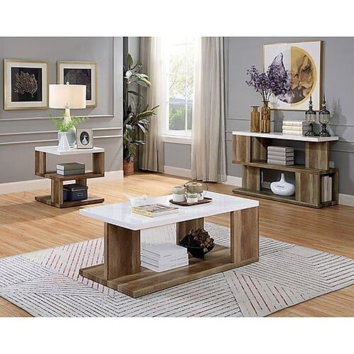 MAJKEN Imprad Contemporary White, Natural Tone Coffee Table