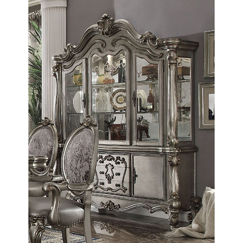 Versailles ALL Antique Platinum Finish Hutch & Buffet