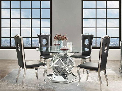 Noralie All 72145 Round Glass Top Table with Faux Diamond