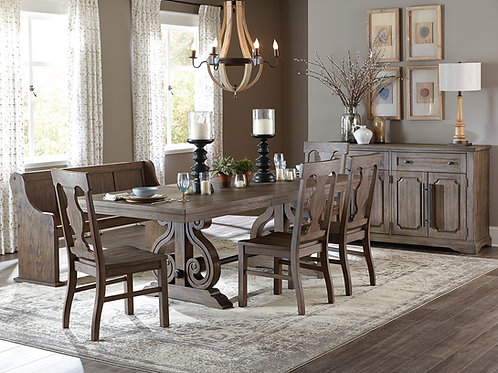 Toulon Henry Distressed Dark Oak Finish Dining Table