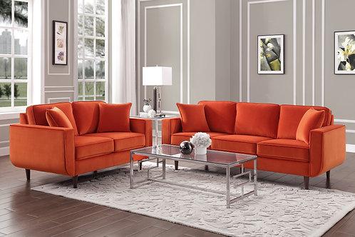 Rand Henry Velvet Mid-Century Orange Sofa