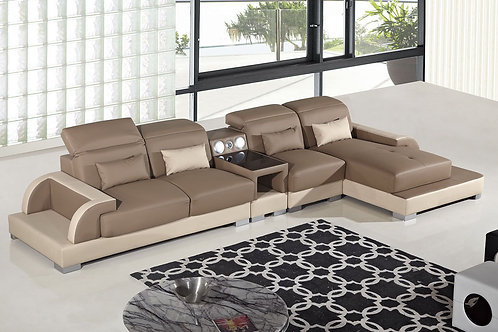 812 AE Camel and Cream Faux Leather Sectional - Left Sitting