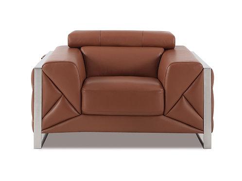 903 Geo Italian Leather Camel Chair