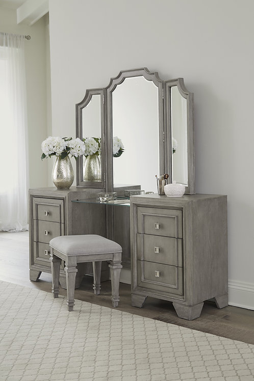 Colchester Henry Modern Gray Vanity Dresser with Mirror and Stool