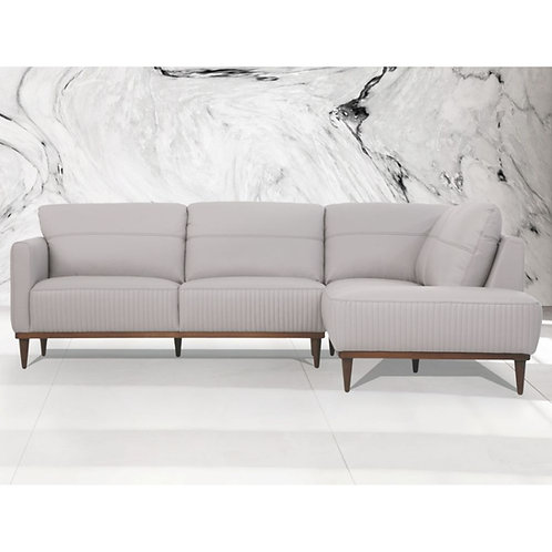 All Tampa Sectional Sofa - 54970 - Pearl Gray Italian Genuine Leather
