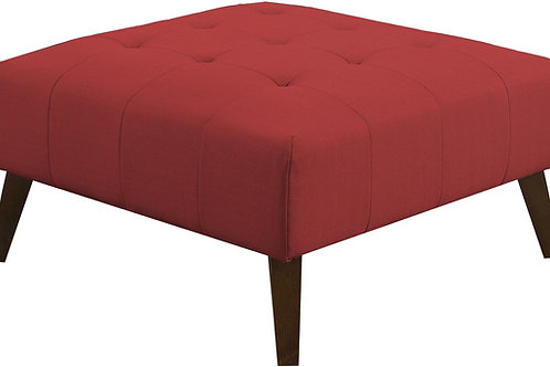Emeral Binetti Mid-Century Red Linen Tufted Ottoman
