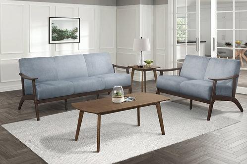 Carlson Henry Mid Century Blue Gray Velvet Sofa