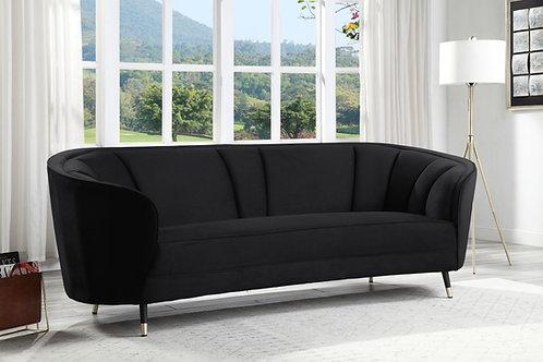 All Achim Black Velvet Modern Sofa