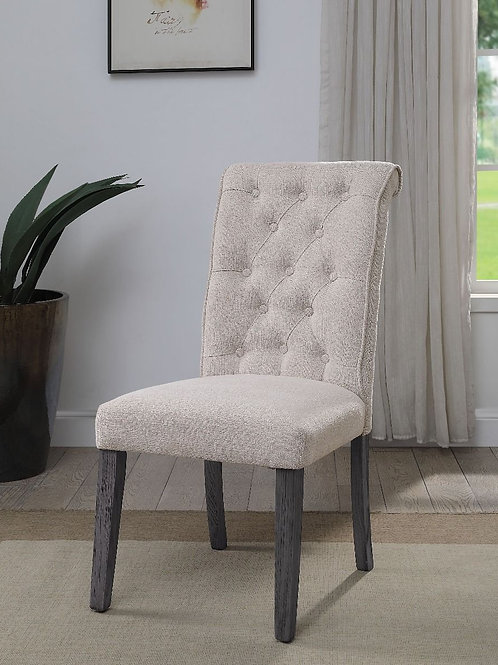All Yabeina Beige Linen & Gray Finish Side Chair