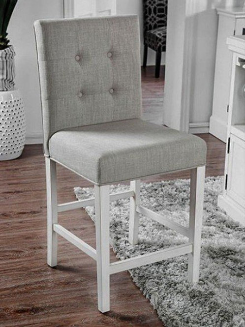 SUTTON Imprad Transitional Antique White Counter Ht. Side Chair