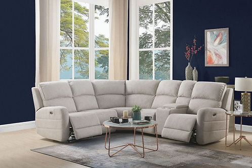Olwen All Sectional Sofa (Power Motion & USB)  Cream Nubuck