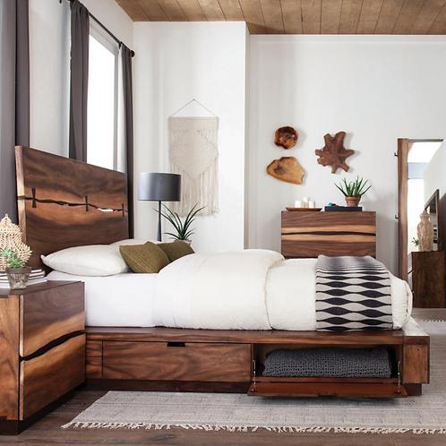 Cali Winslow Contemporary Platform Bed w/Storagein Smokey Walnut and Coffee Bean